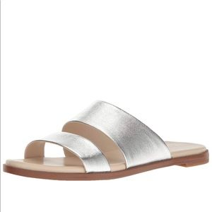 Cole Haan Anica Slide Leather Silver Sandal